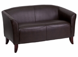 HERCULES Imperial Series Brown Leather Love Seat - 111-2-BN-GG