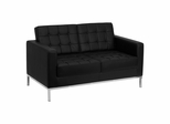 HERCULES Lacey Series Contemporary Black Leather Love Seat with Stainless Steel Frame - ZB-LACEY-831-2-LS-BK-GG