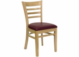 HERCULES Ladder Back Natural Wood Chair with Burgundy Vinyl Seat - XU-DGW0005LAD-NAT-BURV-GG