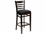 HERCULES Ladder Back Walnut Wood Bar Stool with Black Vinyl Seat - XU-DGW0005BARLAD-WAL-BLKV-GG
