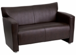 HERCULES Majesty Series Brown Leather Love Seat  - 222-2-BN-GG