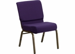 HERCULES Series 21'' Extra Wide Royal Purple Stacking Church Chair - Gold Vein Frame - FD-CH0221-4-GV-ROY-GG