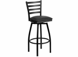 HERCULES Series Black Ladder Back Swivel Metal Bar Stool - Black Vinyl Seat  - XU-6F8B-LADSWVL-BLKV-GG