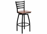 HERCULES Series Black Ladder Back Swivel Metal Bar Stool - Cherry Wood Seat  - XU-6F8B-LADSWVL-CHYW-GG