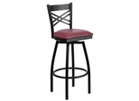 HERCULES Series Black ''X'' Back Swivel Metal Bar Stool - Burgundy Vinyl Seat  - XU-6F8B-XSWVL-BURV-GG