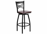 HERCULES Series Black ''X'' Back Swivel Metal Bar Stool - Mahogany Wood Seat  - XU-6F8B-XSWVL-MAHW-GG