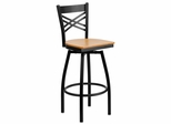 HERCULES Series Black ''X'' Back Swivel Metal Bar Stool - Natural Wood Seat  - XU-6F8B-XSWVL-NATW-GG