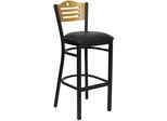HERCULES Slat Back Black Metal Bar Stool with Black Vinyl Seat and Natural Wood Back - XU-DG-6H3B-SLAT-BAR-BLKV-GG