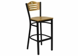 HERCULES Slat Back Black Metal Bar Stool with Natural Wood Seat and Back - XU-DG-6H3B-SLAT-BAR-NATW-GG