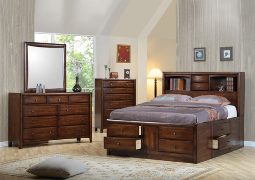 Hillary Eastern King Size Bedroom Furniture Set in Warm Brown - Coaster - 200609KE-BSET