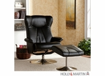 Holly & Martin Brayden Leather Recliner and Ottoman - Shimmer Black