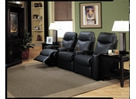 Home Theater Seating - 3 Seater in Black Leather Match - Coaster