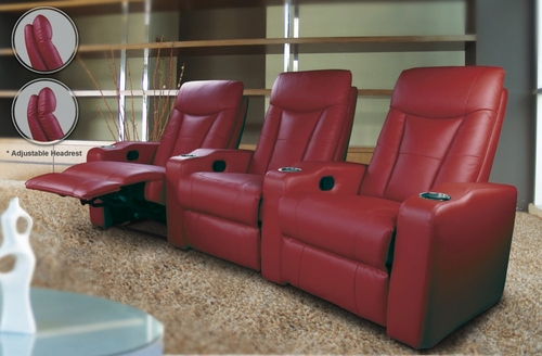 Home Theater Seating - 3 Seater in Red Leather Match - Coaster