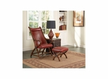 Hunter Brown Cherry / Red Leather Chair and Ottoman - Largo - LARGO-ST-L761