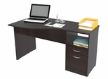 Inval Curved Top Single Pedestal 2 Drawer Desk with Open Storage