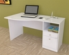Inval Laura White Modern Curved Top Desk with File Drawer