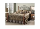 Iron Bed / Metal Bed - Martino Bed in Smoke Silver / Cherry - Hillsdale Furniture