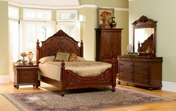 Isabella California King Size Bedroom Furniture Set in Oak - Coaster - 200511KW-BSET