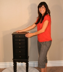 Jewelry Armoire in Ebony Black - Powell Furniture - 502-317