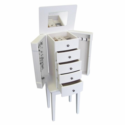 Jewelry Armoire in White - Vanna - Jewelry Boxes by Mele - 00904S11