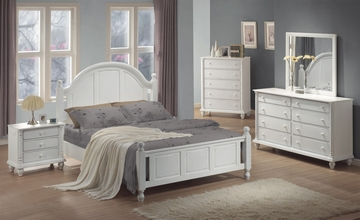 Kayla California King Size Bedroom Furniture Set in White - Coaster - 201181KW-BSET