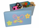 Kids Storage Ottoman with Bee and Flowers Design in Light Blue - RiverRidge - 02-046
