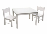 Kids Table and Chair Set - Classic White Table and Chair Set in White Matte - Guidecraft - G85702