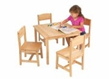 Kids Table and Chair Set - Farmhouse Table and Four Chairs - KidKraft Furniture - 21421