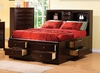 King Size Bed - Phoenix Eastern King Size Bookcase Chest Bed in Rich Deep Cappuccino - Coaster - 200409KE
