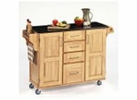 Kitchen Cart - Natural Wood Cart with Black Granite Top - Home Styles - 9100-1014