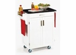 Kitchen Cart - White Wood Cart with Black Granite Top - Home Styles - 9001-0024