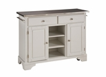 Kitchen Cart with Stainless Top in White - Home Styles - 9300-1022