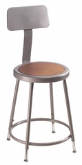 """Lab Stool - 19""""-27 Adjustable Stool with Backrest - National Public Seating - 6218HB"""