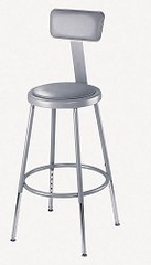"""Lab Stool - 19""""-27"""" Adjustable Stool with Padded Seat and Backrest - National Public Seating - 6418HB"""