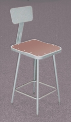 """Lab Stool - 25""""-33"""" Adjustable Stool with Backrest - National Public Seating - 6324HB"""