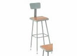 "Lab Stool - 31""-39"" Adjustable Stool with Backrest - National Public Seating - 6330HB"