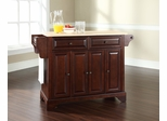 LaFayette Natural Wood Top Kitchen Island in Vintage Mahogany - CROSLEY-KF30001BMA