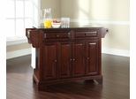 LaFayette Solid Black Granite Top Kitchen Island in Vintage Mahogany - CROSLEY-KF30004BMA