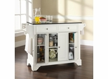 LaFayette Solid Black Granite Top Kitchen Island in White Finish - Crosley Furniture - KF30004BWH