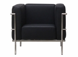 Le Corb Leather Arm Chair in Black - FF610-1-BK
