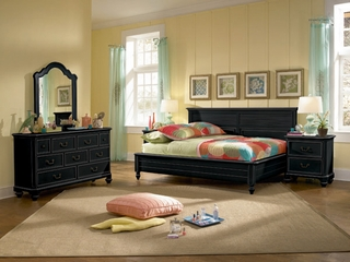 Lea Elite Retreat Black Full Bedroom Set with 2 Nightstands - 148-924