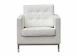 Leather Lounge Chair in White - FF08-1-WHITE