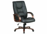 Leather Wood Trim Office Chairs