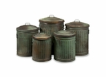 Leva Copper Verdigris Storage Cans (Set of 5) - IMAX - 44100-5