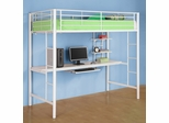 Loft Bed - Sunrise Metal Twin Size Workstation Loft Bunk Bed in White - BTOZWH