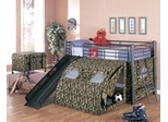 Loft Bed - Twin Size G.I. Loft Bunk Bed with Slide and Tent - Coaster