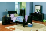 Louis Philippe Full Size Bedroom Furniture Set in Deep Black - Coaster - 201071F-BSET