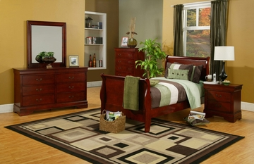 Louis Philippe Twin Size Bedroom Furniture Set in Cherry - Coaster - 200431T-BSET