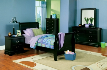 Louis Philippe Twin Size Bedroom Furniture Set in Deep Black - Coaster - 201071T-BSET