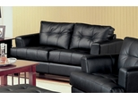 Loveseat in Black Leather - Coaster